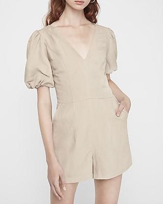 Linen-Blend Puff Sleeve Romper Neutral Women's M