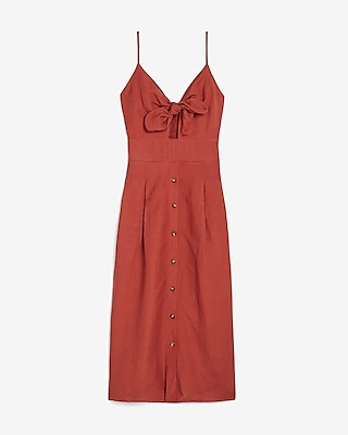 Express.com deals on Express Linen-Blend Button Front Tie Midi Dress