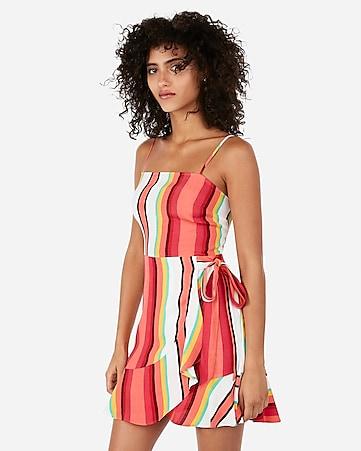 d17efcc9697 striped square neck ruffle wrap mini dress. EXPRESS VIEW