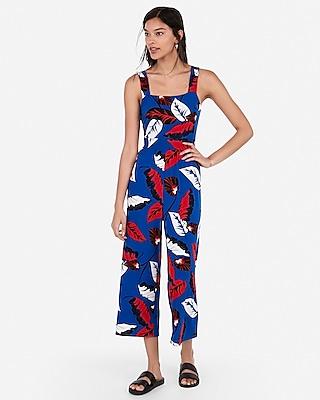 Petite floral square neck culotte jumpsuit
