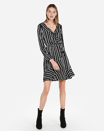 Express View · striped elastic waist ruffle wrap dress c69b3bdd6