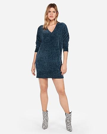 Express View V Neck Shift Sweater Dress