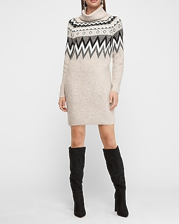 Cozy Fair Isle Turtleneck Shift Sweater Dress by Express