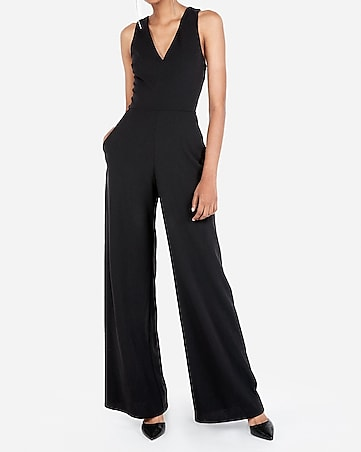 35276037ff petite cross back wide leg jumpsuit. EXPRESS VIEW
