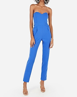 Petite strapless sweetheart neck jumpsuit