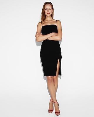 Petite front slit sheath dress