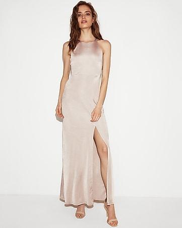 Express View Satin High Maxi Dress