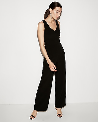 petite mesh v-neck wide leg jumpsuit