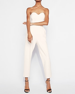 Express Womens Strapless Sweetheart Neckline Jumpsuit White Women's 4 White 4