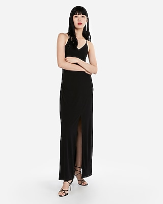 Express View  C2 B7 Ruched Side Slit Maxi Dress