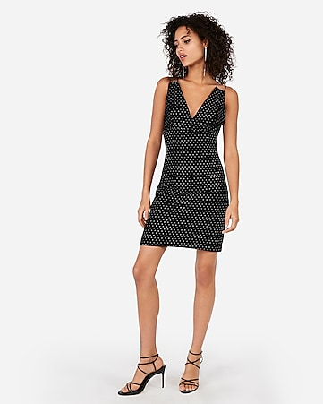 Express View · dotted velvet cross back sheath dress 85ba7e4a0362