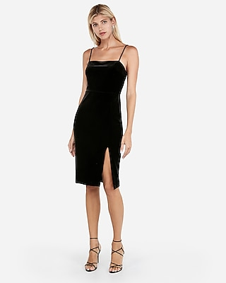 petite velvet front slit sheath dress