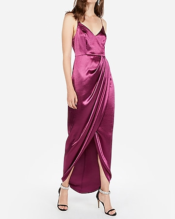 6dc590abf76d3f Satin Wrap Front Maxi Dress