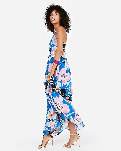 77b74374014 Strappy Lace-up Cut-out Maxi Dress