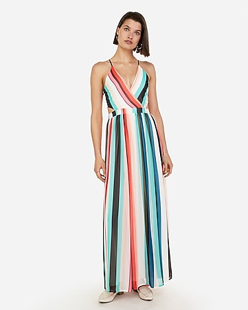 abe8477835 Express View · striped surplice front lace-up back maxi dress