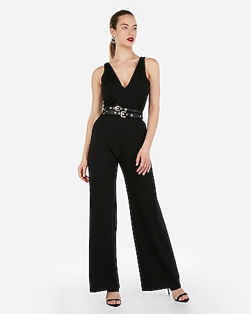 3be07952f008 Deep V-neck Wide Leg Jumpsuit