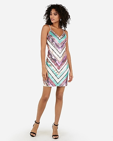 21cfec8be5a2 sequin chevron mini sheath dress. EXPRESS VIEW