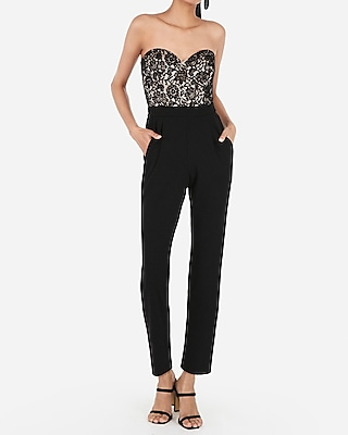 Petite lace bodice strapless sweetheart jumpsuit