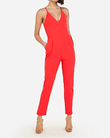 796dd9ae4f9 deep v-neck cross back cami jumpsuit
