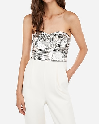 Petite embellished sequin bodice strapless sweetheart jumpsuit