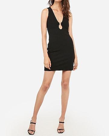6c8dd078a5fa1e Express View · ring inset cut-out mini sheath dress