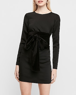 X Karla Long Sleeve Velvet Bow Sheath Dress