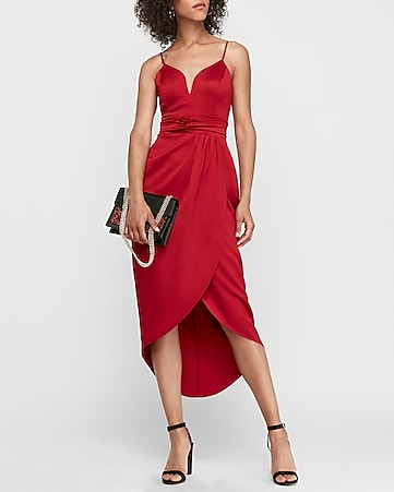 v-wire satin hi-lo maxi dress