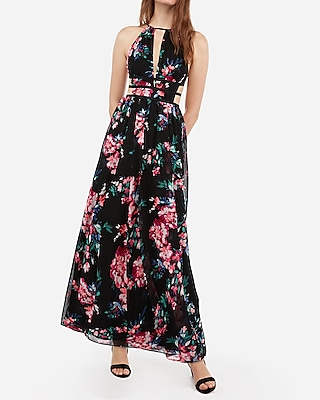Petite floral print strappy side plunge cut-out maxi dress