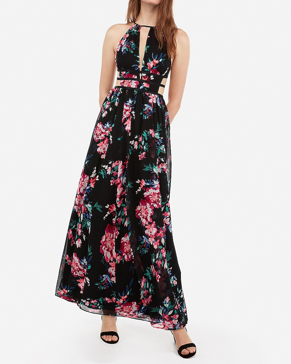 fe01fef830e floral print strappy side plunge cut-out maxi dress. Hover to Zoom