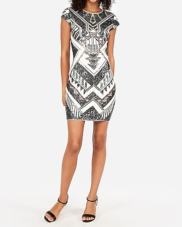 Express View · short sleeve sequin sheath dress 74d4ba8dfa