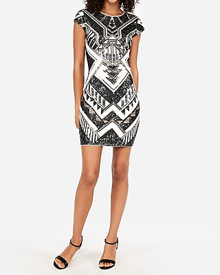 Petite short sleeve sequin sheath dress