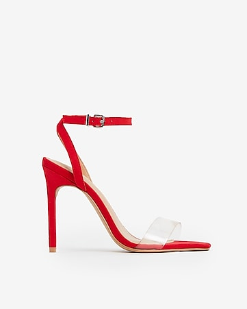 883be0a6c0a Express View · vinyl square toe heeled sandals