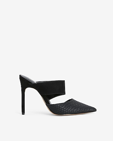 b4fa07812c4 Express View · textured asymmetrical heeled mules