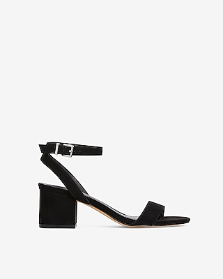 Faux Suede Low Block Heeled Sandals by Express