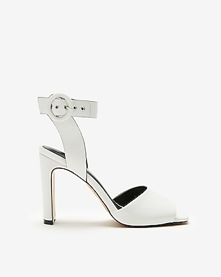 Square Toe Buckle Heeled Sandals by Express