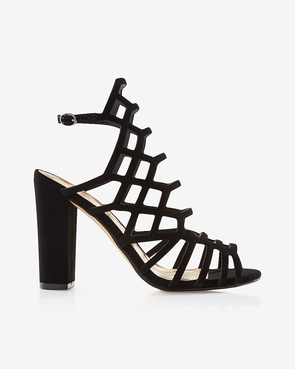 Black sandals with heels -  Caged Thick Heeled Sandal