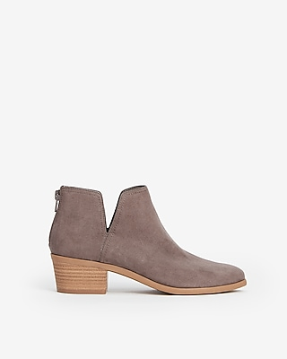 Low Heel Side Slit Booties by Express