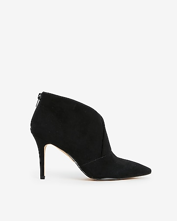 ffd71113c8a Express View · faux suede asymmetrical pointed toe booties