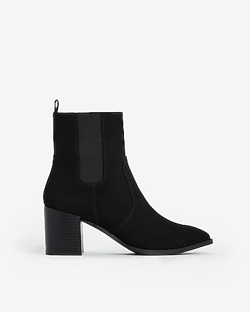 78b159023be Express View · faux suede heeled booties