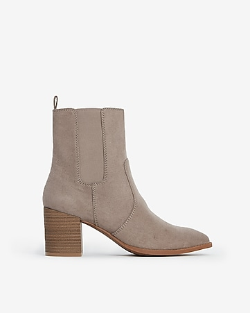 fe70429aa Express View · faux suede heeled booties