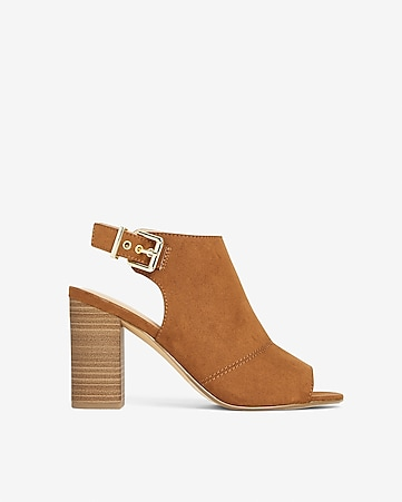 62a077c86f3 Express View · faux suede buckle peep toe heeled booties