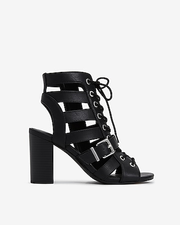 Caged Buckle Lace Up Booties by Express