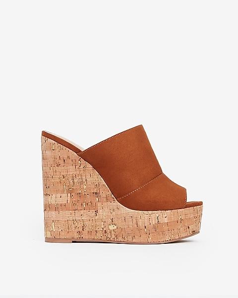 Sandals Wedge Faux Platform Suede Cork 8wOPkXn0
