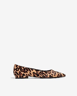 Leopard Print Leather Pointed Toe Flats by Express