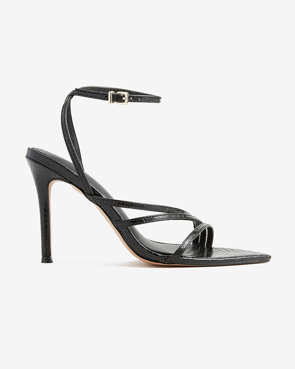 EXPRESS Women's Textured Strappy Pointed Toe Heels