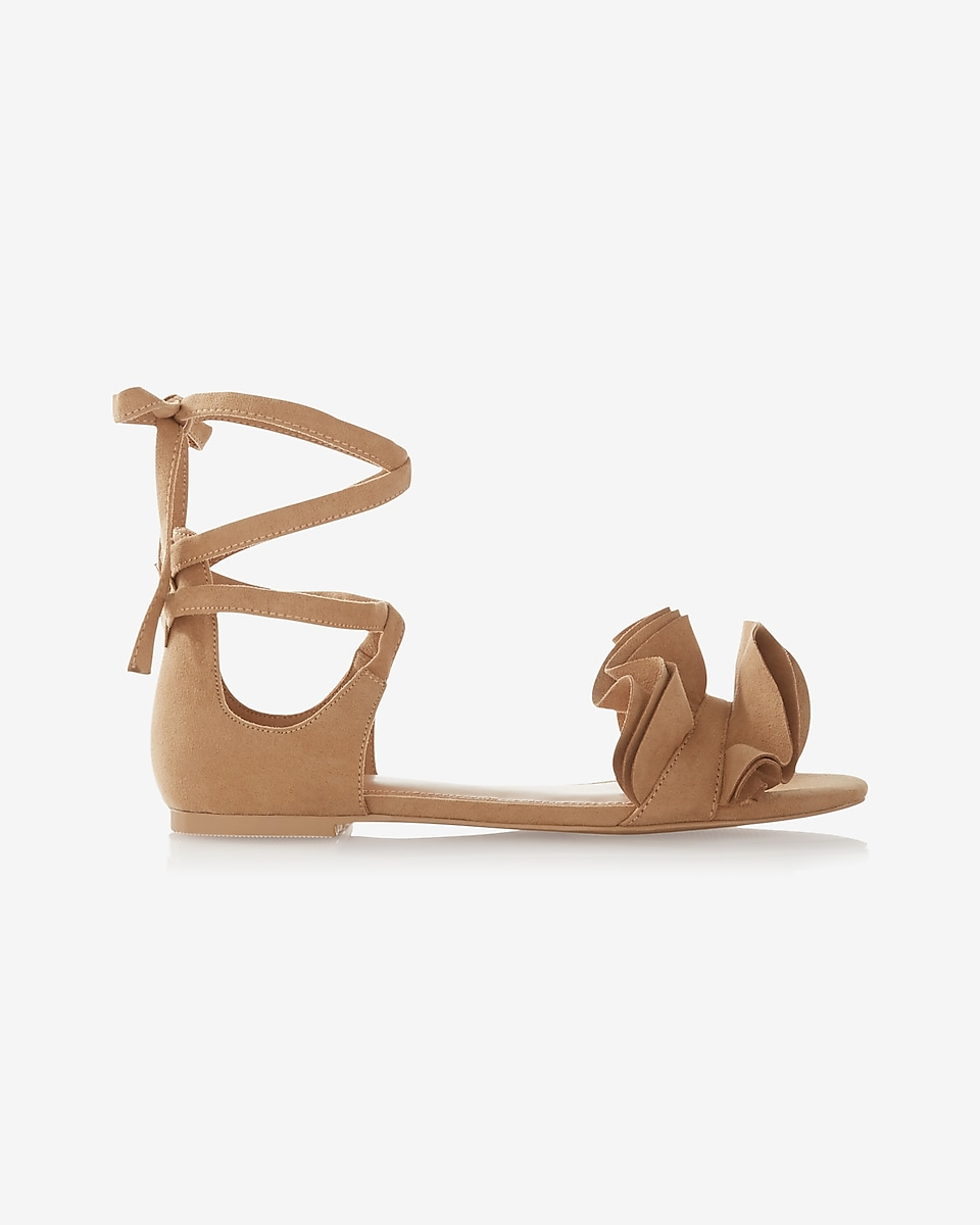 Womens sandals -  Ruffle Lace Up Sandals