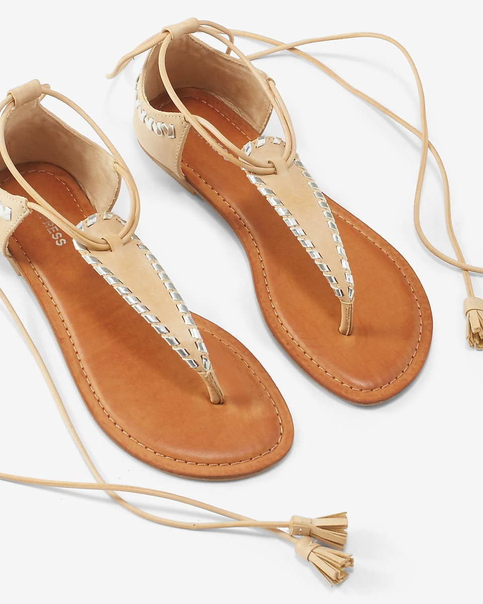 Womens sandals -  Metallic Whipstitch Lace Up Sandals