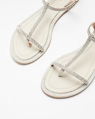 Express.com deals on Express Embellished Soft T-Strap Sandals for Womens
