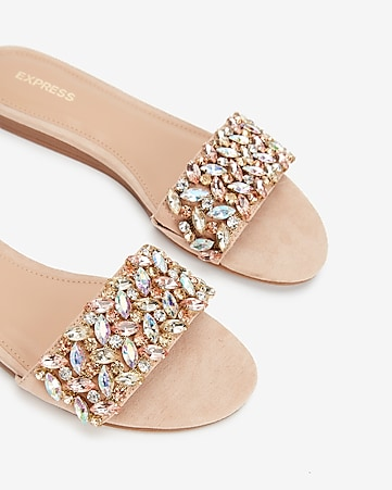 90a551db0e4 Express View · jewel embellished slide sandals