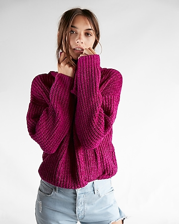 Cozy Chenille Cowl Neck Sweater | Express